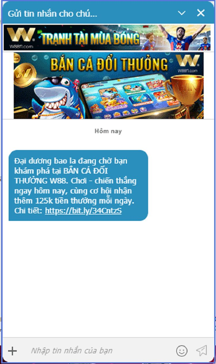 hộp thoại live chat